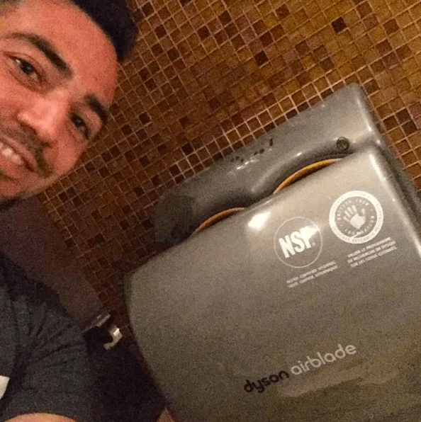 It rained all day, so it was about time to dry off with the Dyson Airblade.